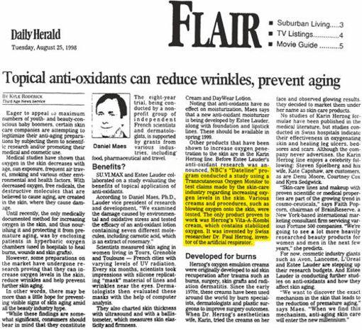 Daily Herald articolo creme all'ossgieno